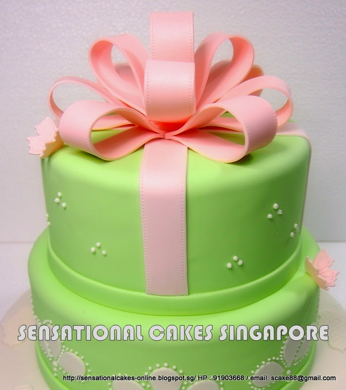 The Sensational Cakes Pink Mint Green 2 Tier Wedding Cake With