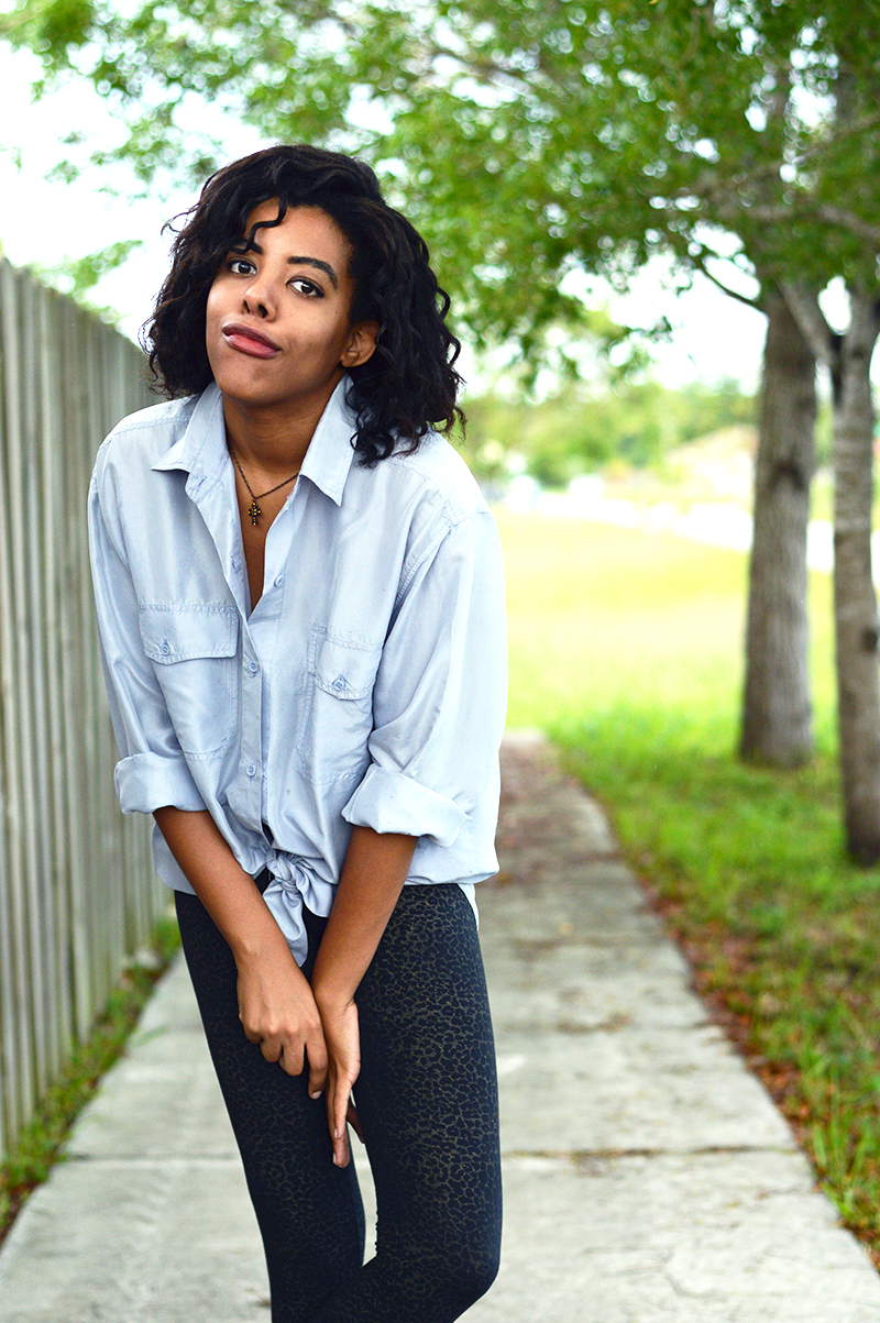 Miami Fashion and Indie Culture Blogger Anais Alexandre of Down to Stars in a vintage chambray shirt with leopard tights