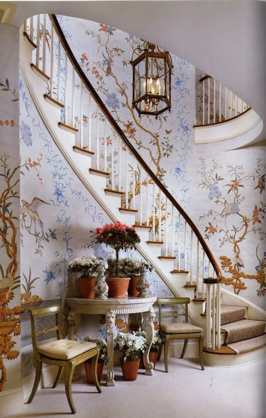 peonies and orange blossoms chic chinoiserie wallpapers
