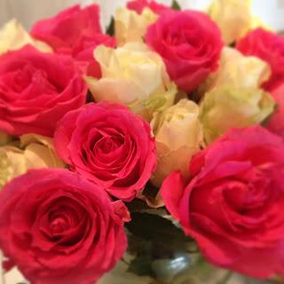 Rosor, rosa, vitt, bukett, romantik