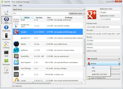QtADB=>Apps - Manage (install, backup with data, unistall) both system and users applications