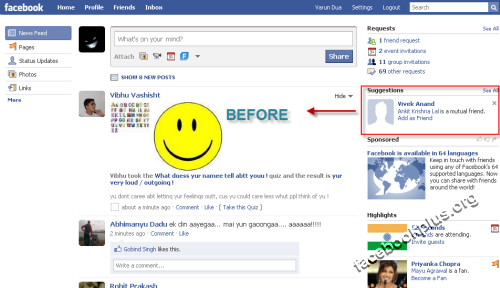 Remove Suggestions from Your Facebook