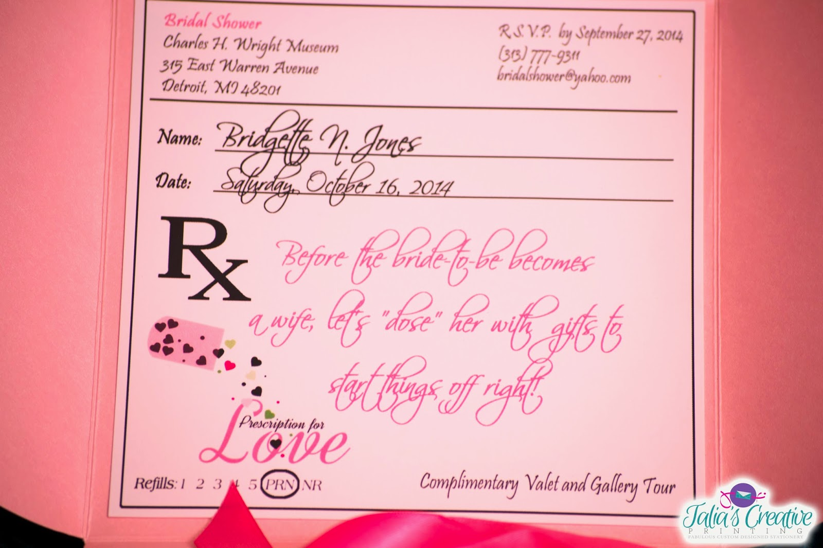 Michaels crafts wedding invitations - The Prescription Pad Invitation Is Enclosed Inside Of A Metallic Petal Card Tied With A Ribbon Using The David S Bridal Ribbon Tying Method