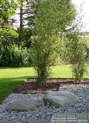 Gartenplanung, Gartenplaner, Gartengestaltung mit Bambus, Schotter, Findlinge im Garten, Beeteinfassung