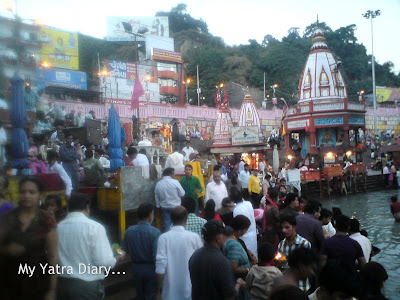 Crowds gathered at the Har Ki Pauri Ghat in Haridwar for the evening Ganga Arti