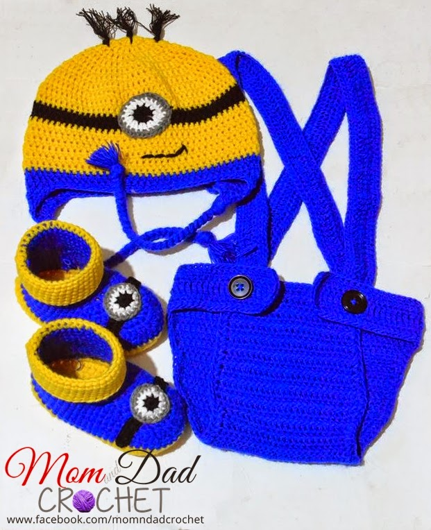 Crochet Minion Diaper Cover, Hat and Boots Set