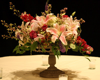 Splendid Stems Event Florals - Flower Centerpiece on Cake Plate - Hilton Hotel Albany Crowne Plaza