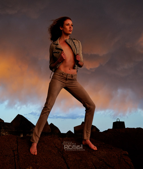 wind blows model at sunset, modelling portfolio shoot, location photography of model by gilbert rossi