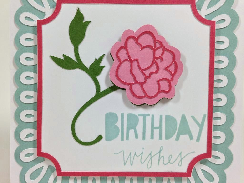 Cricut Martha Stewart Elegant cartridge Birthday Wishes card closeup