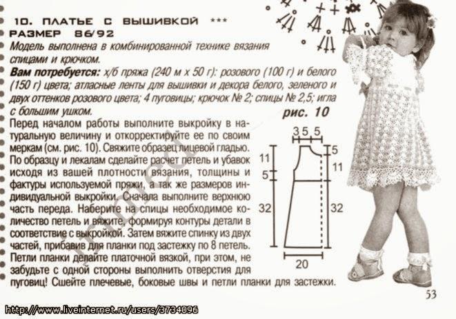 вязание спица платьев на 5 лет описание схемы