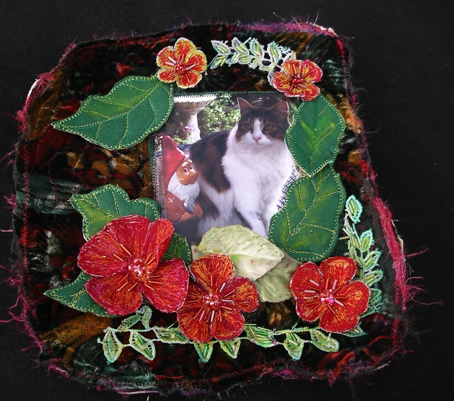 Kitty page in fabric book