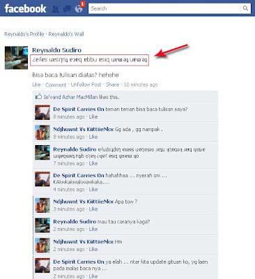 Cara Membuat Tulisan Status Facebook Terbalik