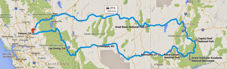 Folsom-Utah trip map