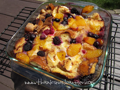 peach berry bread pudding