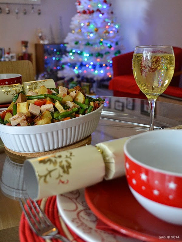 christmas table with big chrissy salad