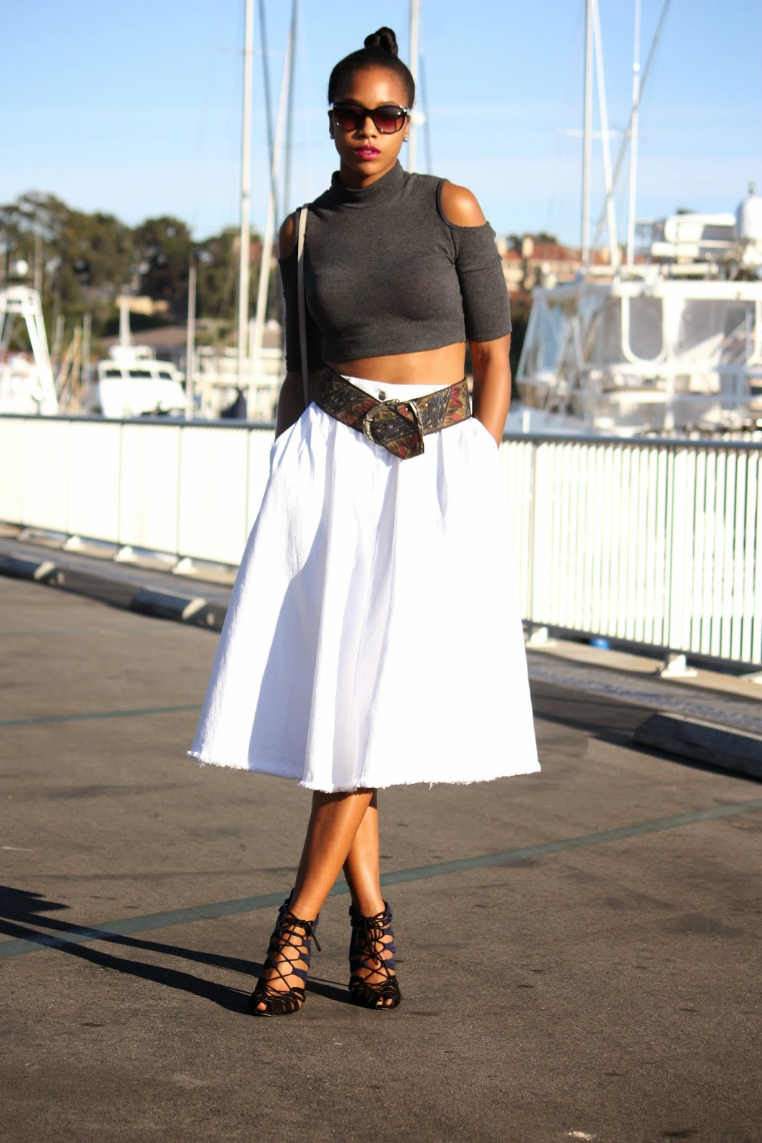 Wearing: Janette Fashion crop top Thrifted embroidered belt H&M denim skirt Zara tie up heels