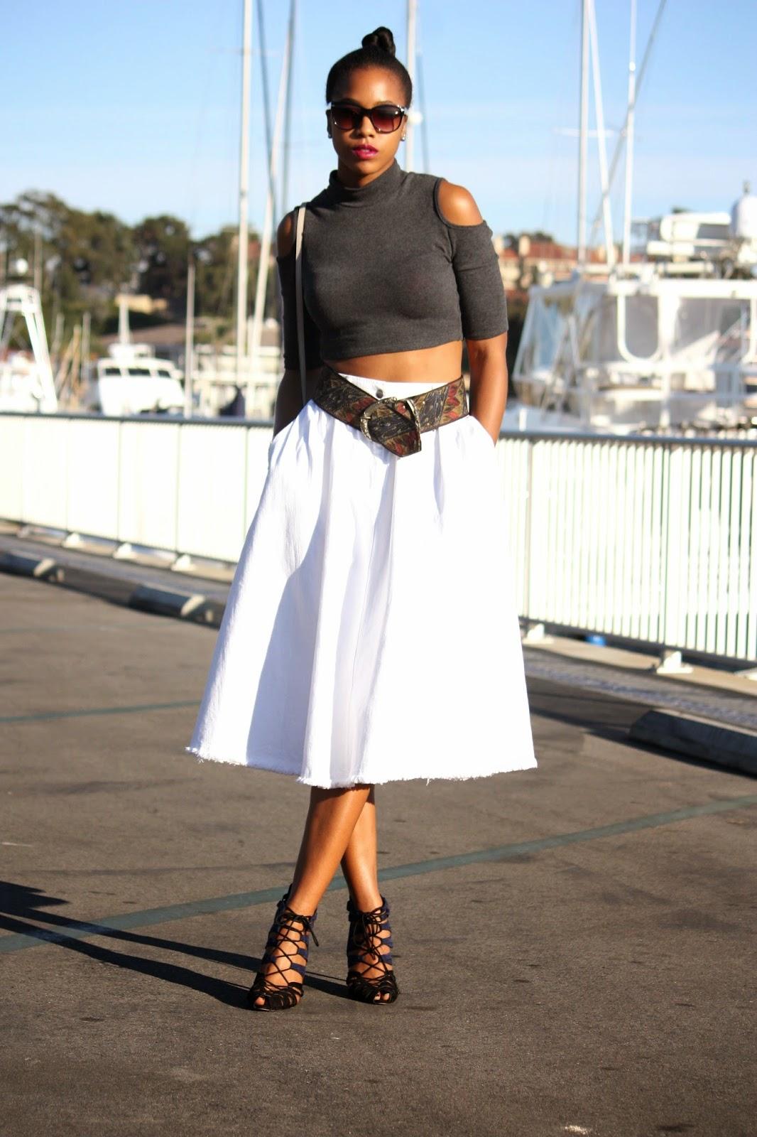 Wearing: Janette Fashion crop top Thrifted embroidered belt H&M denim skirt Zara tie up heels