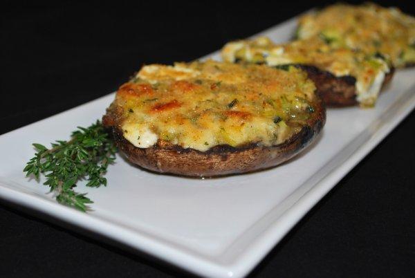 Three Cheese Zucchini Stuffed Portobello Mushrooms