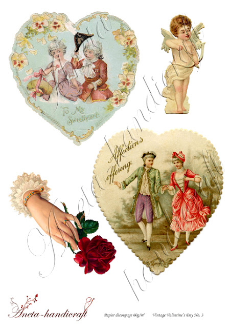 Aneta-handicraft decoupage papers- Valentine's Day collection