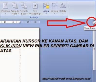 gambar cara menampilkan ruler margin di word