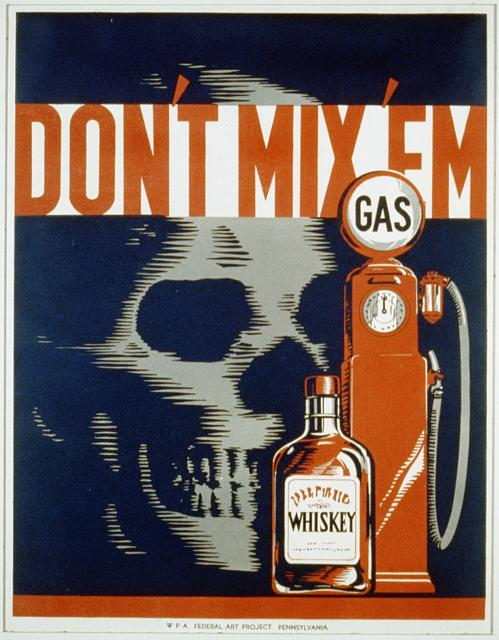 wpa, federal art project, pennsylvania, public health, public safety, public service announcement, food, vintage, vintage posters, retro prints, classic posters, graphic design, free download, Don't Mix 'em, Gas and Whiskey - Vintage Public Announcement Poster