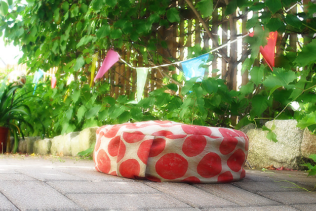 "Yoga Cushion ""Gunda"", hand printed by frauschoenert"