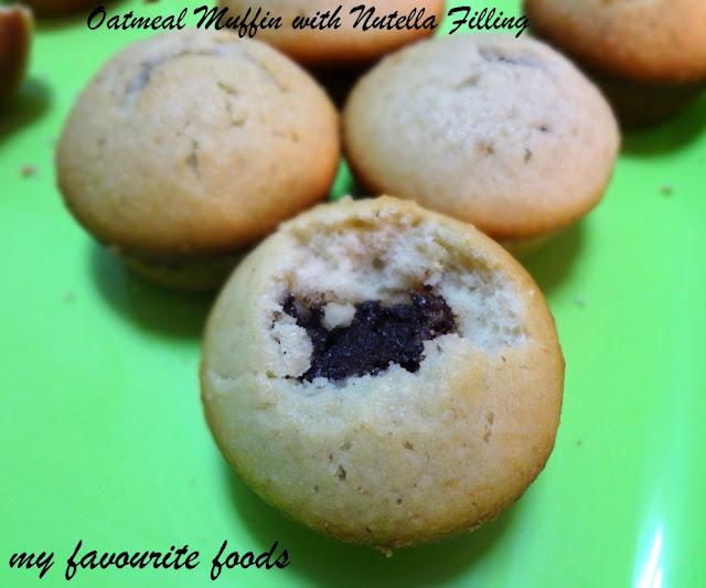 Oatmeal Yogurt Muffins With Nutella Filling