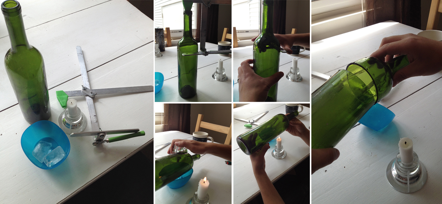 My wild thing and twinkle toes diy upside down wine for How to cut the bottom of a glass bottle