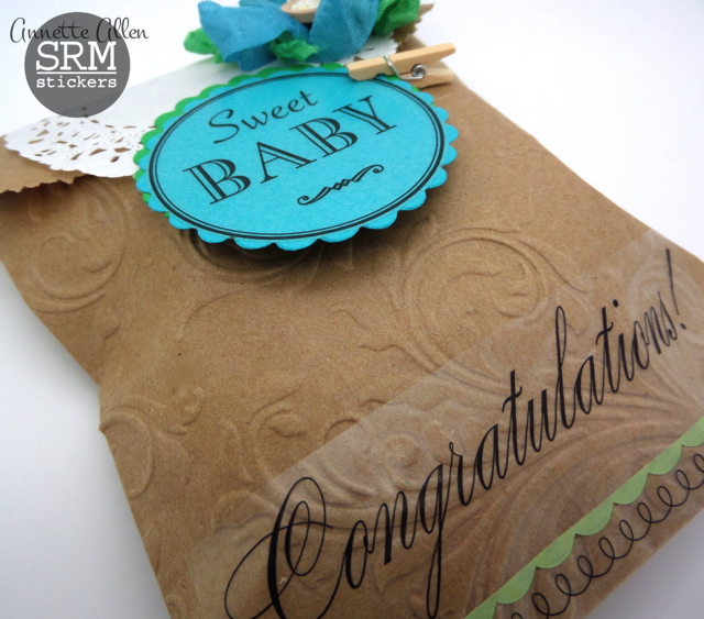 SRM Stickers - Sweet Baby Gift Bag by Annette - #kraft #bag #doilies #stickers #embossed