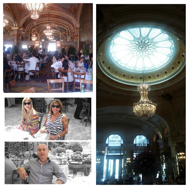 Inside the Hotel de Paris for brunch; outside on the terrace with my friend Firuze Hariri, a fashion designer from San Francisco and my husband, Rafael Gabeiras.