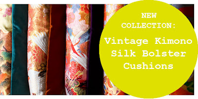 Kimono Luxe Upcycled Vintage Cushions by Hunted and Stuffed