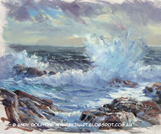 Plein air seascape sketch, Albany, in oils by Andy Dolphin
