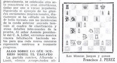 Crónica de Francisco J. Pérez en El Noticiero Universal sobre el III Torneo Nacional de Ajedrez de La Pobla de Lillet 1957 (3)