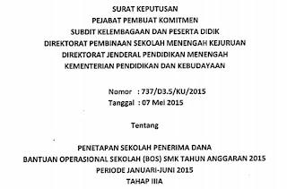 Daftar Sekolah Penerima Dana BOS SMK Tahun 2015 Berdasarkan SK BOS Tahap III