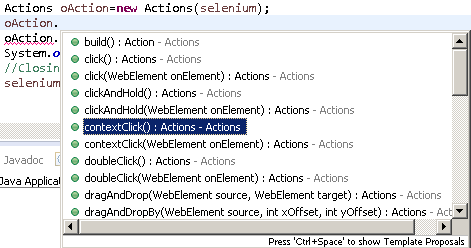 Methods of Action class selenium