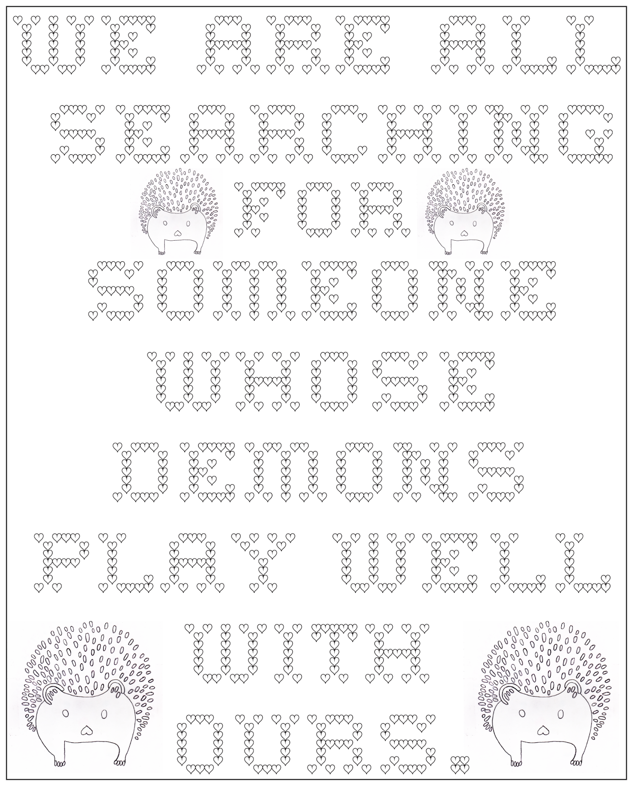 Adult coloring page searchin gfor demons, stefanie girard