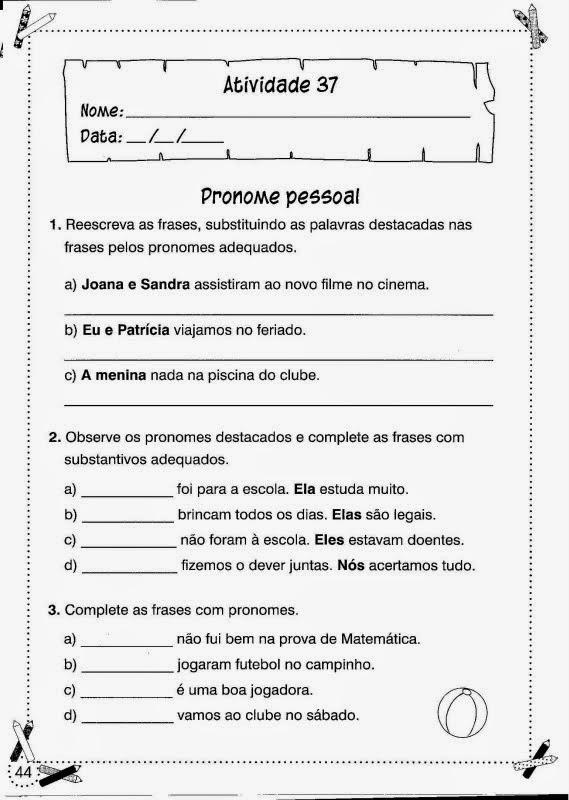 Fabuloso ESPAÇO EDUCAR: Atividades de Português para o 3° ano para imprimir! RR74