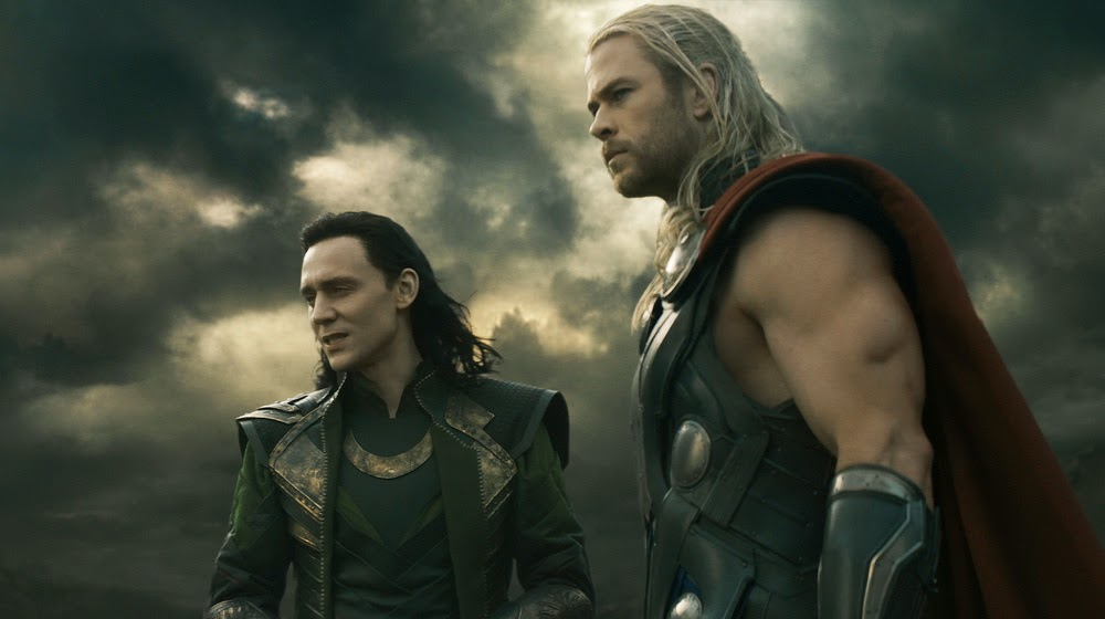 Loki and Thor looking over the hills to the Dark Elf min army.
