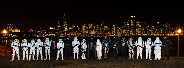 Imperial Forces posing in front of Chicago skyline