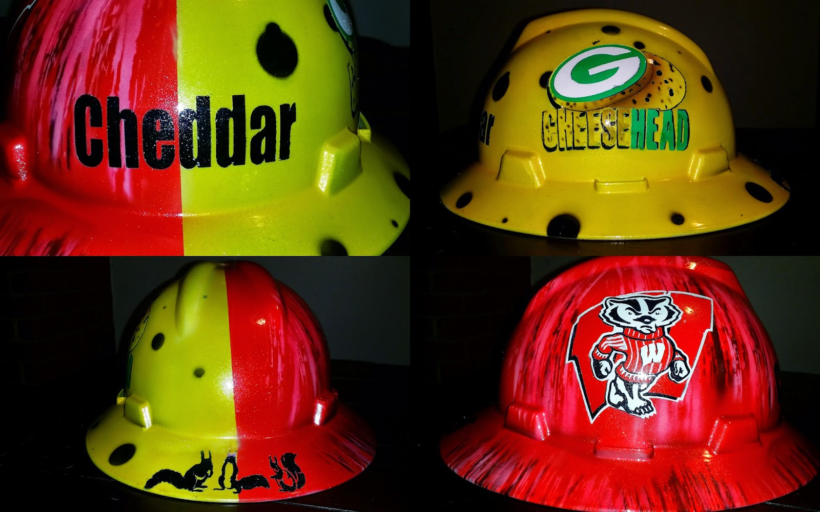 Greenbay cheesehead and Wisconsin Badger custom hard hat