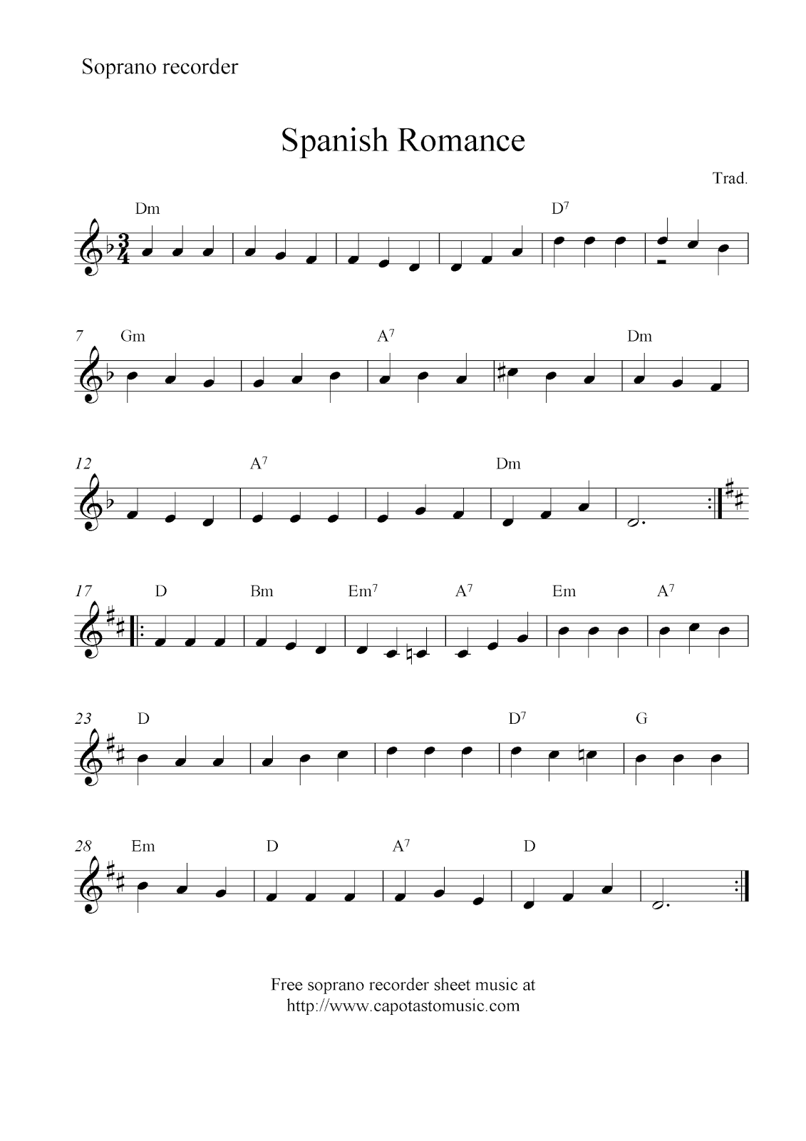 Spanish romance free soprano recorder sheet music notes