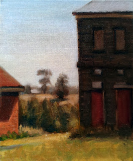 Oil painting of a boarded-up Victorian-era bluestone building beside a smaller red-brick building with distant trees and a small rise.