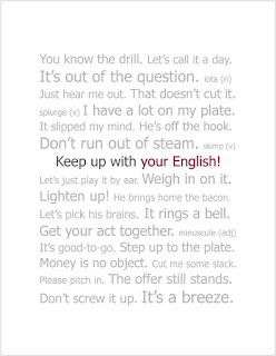 greeting card with English idioms and vocabulary
