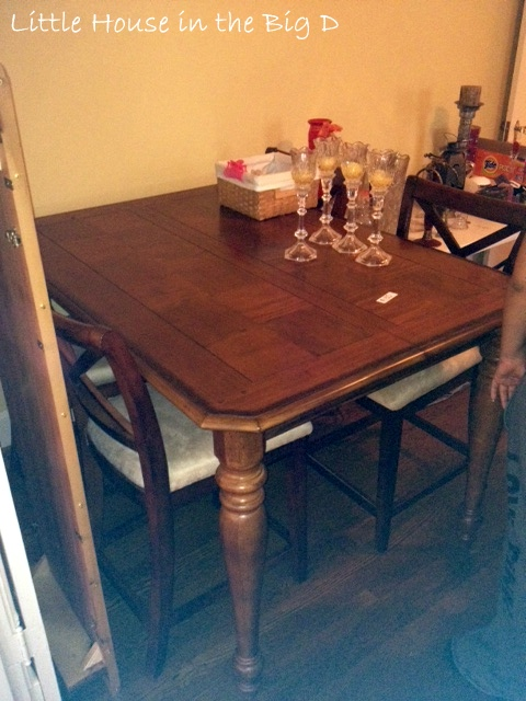 Luxury It came with chairs table and leaf It was in really good shape and I asked the host of the sale if they would take thinking they would counter at