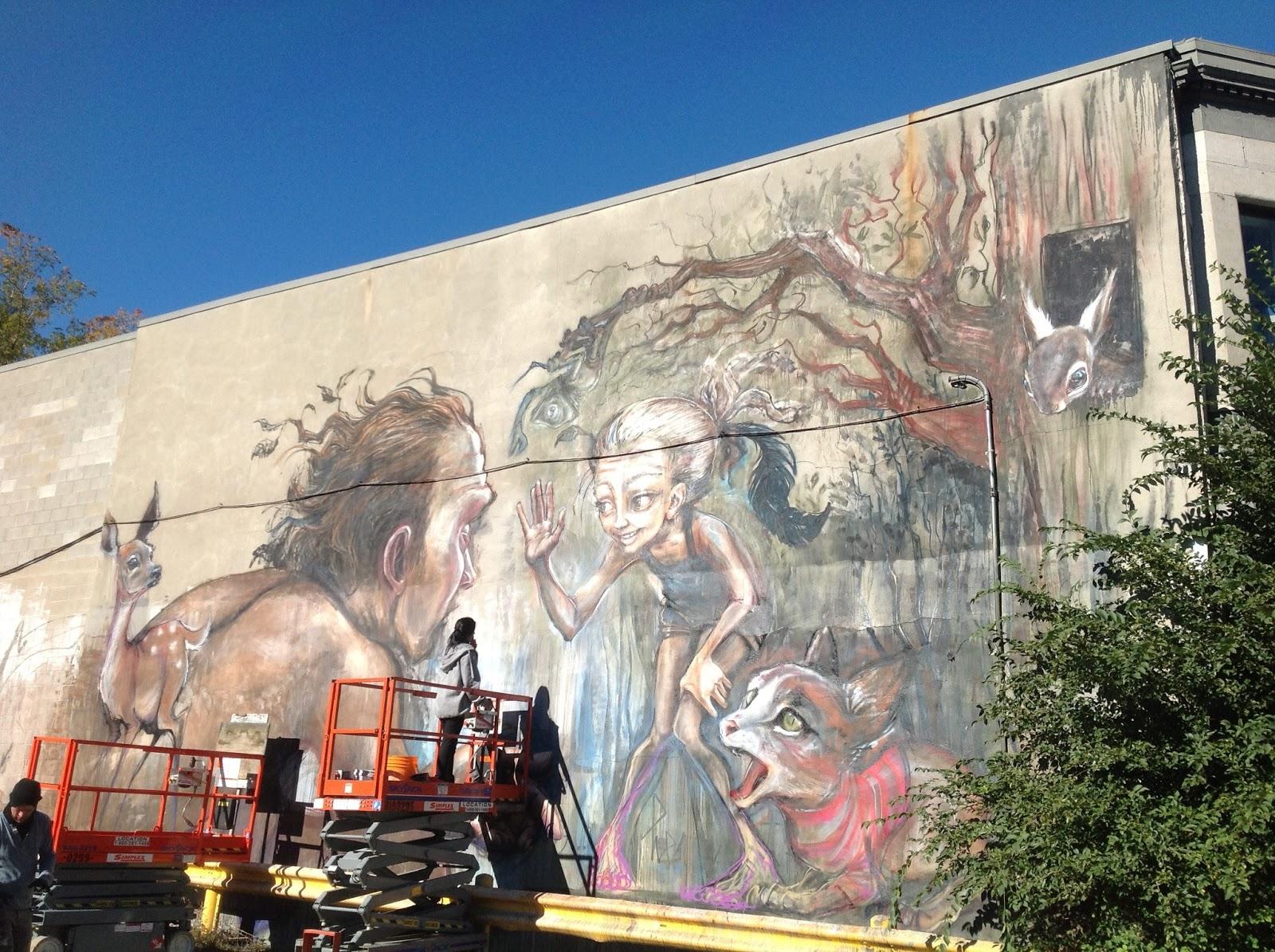 Herakut new mural in montreal canada streetartnews for Art mural montreal