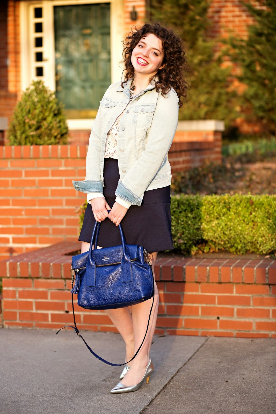 Denim jacket casual dress outfit for spring