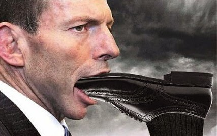 Tony Abbot with foot in mouth.