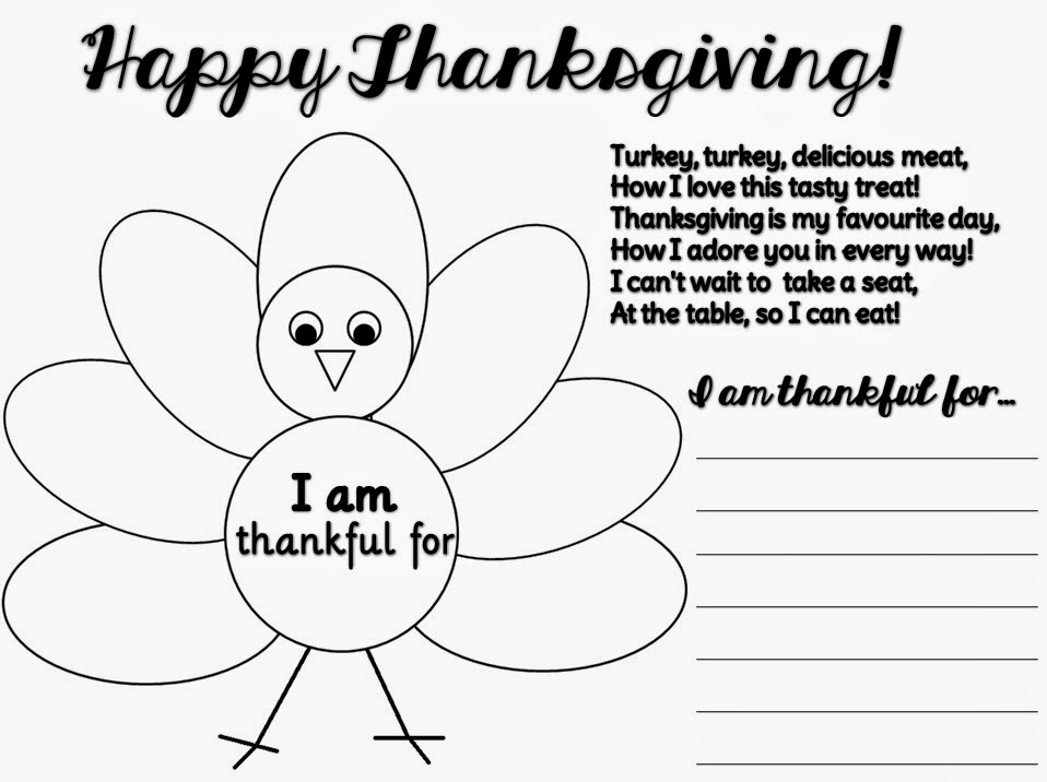 Thankful Thanksgiving templates: black and white