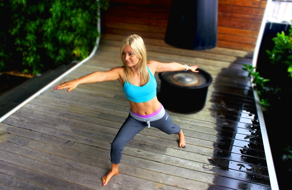 Aqua Lorna Jane Yoga Warrior Pose