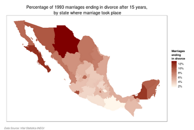 Map of divorce in Mexico